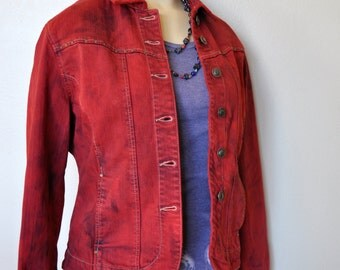 """Red Small Denim Jacket- Scarlet Red Hand Dyed Upcycled Live a Little Denim Cropped Trucker Jacket - Adult Womens Small PP (36"""" chest)"""