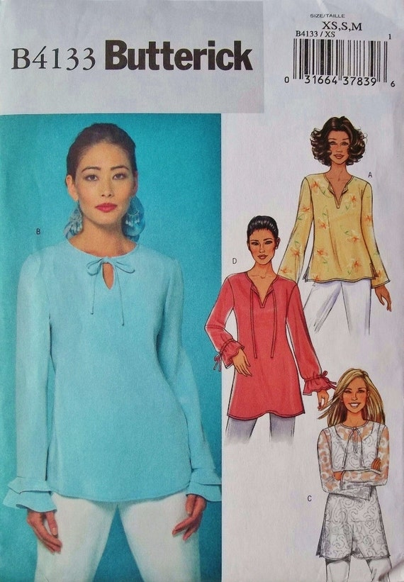 Long Sleeve Pullover Tunic Sz Xsm, Sm & Med Butterick 4133 uncut sewing pattern