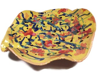 SALE: Abstract Art Bowl in Miro Style Bright Yellow
