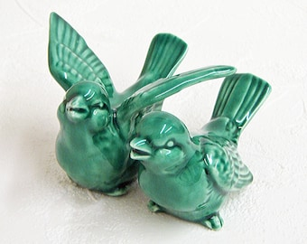 Ceramic Love Bird Wedding Cake Toppers Handmade Keepsake Figurines in Emerald Green - Made to Order
