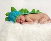 PATTERN - Newborn Baby Dinosaur Crochet Hat With Tail Photo Prop