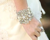 Slava Wedding Bridal Beaded Crystal Bracelet Cuff Bangle