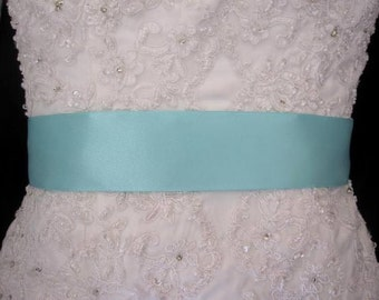 "Aqua Blue 2"" 50 mm Double Faced Satin Ribbon Wedding Gown Sash"