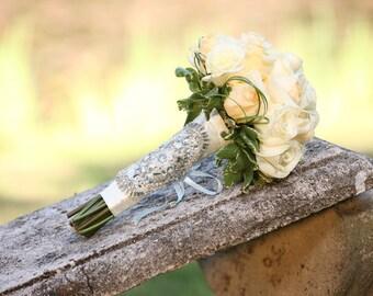 Alecia Bridal Bouquet Jewelry Rhinestone Brooch Beaded Embellishment Wrap #1