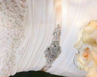 Olivia Wedding Crystal Embellished Beaded Sash Belt Brooch