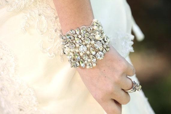 Slava Wedding Bridal Beaded Crystal Bracelet Cuff Bangle