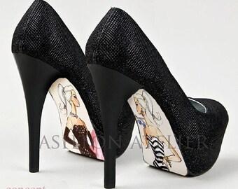 Custom hand painted Barbie high heel shoes