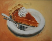 SALE, reduced price. Pumpkin Pie. Original oil painting by Patricia Cotterill