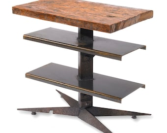 Industrial Wood and Metal Angle Iron End Table