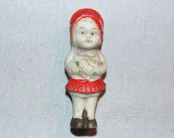 Vintage / Bisque Doll / Girl / Flowers / Bouquet / frozen charlotte / penny doll / Vintage dolls