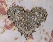 Hand Dyed Venise Lace Applique  Fancy Victorian Heart  Aged Denim Blue