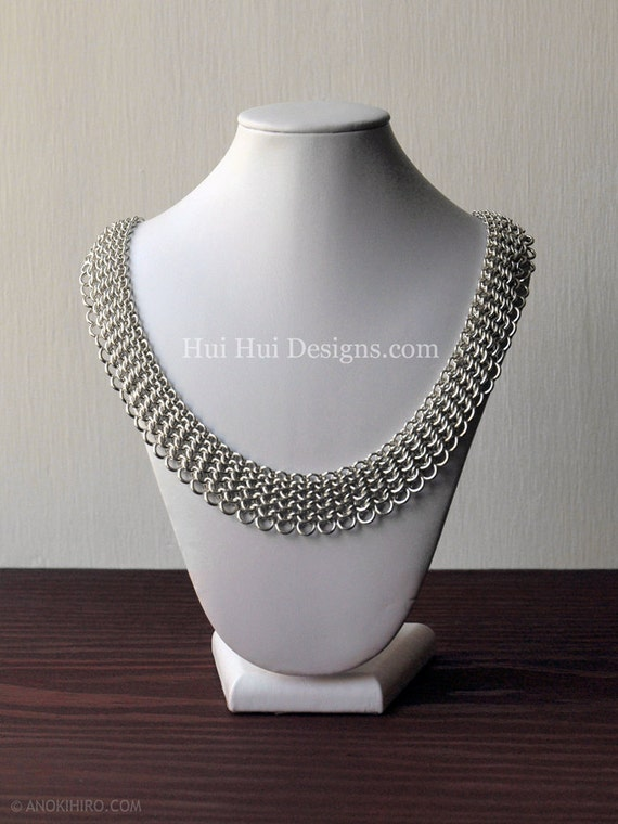 Chainmaille Collar Necklace Sterling Silver Jewelry