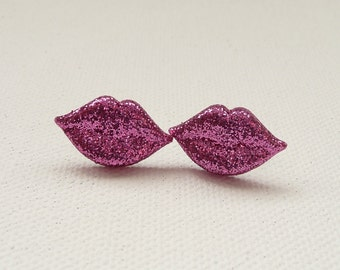 CLEARANCE - Sparkly Pink Lips Stud Earrings