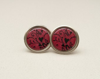 Pink and Black Heart and Vines Round Stud Earrings