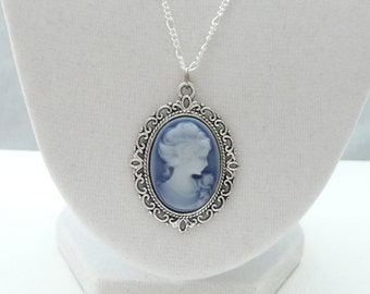 nnm-Blue and White Cameo on a Silver Plated Chain