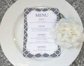 PRINTED Reception Menu with Pattern - Style M1 - PATTERN COLLECTION   dinner menu   table menu   reception menu