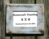 4X6 Picture Frame Distressed Wedding Frame Wood Frame Chambray Blue Brown Shabby Chic Rustic