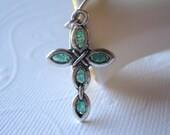 Stained Glass Cross Necklace, Aquamarine Cross, Small Cross, Cathedral Glass