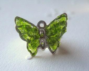 Butterfly Ear Cuff, Green Ear Cuff, Glass Body Jewelry, Ear Cuff Jewelry