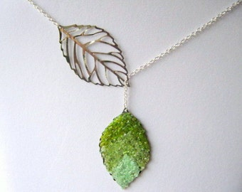 Stained Glass Leaf Lariat Necklace, Bridesmaids Necklace. Green Leaf Lariat, Lariat Jewelry