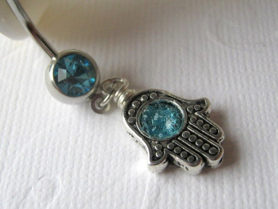 Hamsa Belly Button Ring, Hamsa Barbell, Hamsa Body Jewelry, Belly Button Jewelry