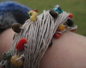 Multistrand Bracelet Eco Friendly Organic Jewelry Linen Raw Multicolor Stone African Style Summer Gift for Her Rainbow Citrine
