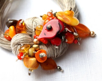 Macrame Bib Necklace Red Coral Baltic Amber Statement Jewelry Linen Fiber Necklace Gray Orange OOAK  Seven Seas