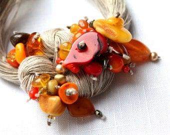 Macrame Bib Necklace Red Coral Baltic Amber Statement Jewelry Linen Fiber Necklace Gray Orange OOAK  Seven Seas