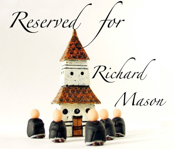RESERVED for rchrdmason - A Little Zen Practice - Miniature Pagoda Zendo and Five Zen Monks by Bewilder and Pine