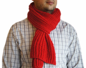 Sale 40%: Red scarf, Mens knit scarf, Man scarf, Red knit scarf for men