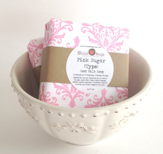 Pink Sugar (Type) Natural Goats Milk Soap Bar by WickedSoaps
