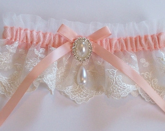 Wedding Garter, Peach Wedding Garter - The Peach MEREDITH Garter