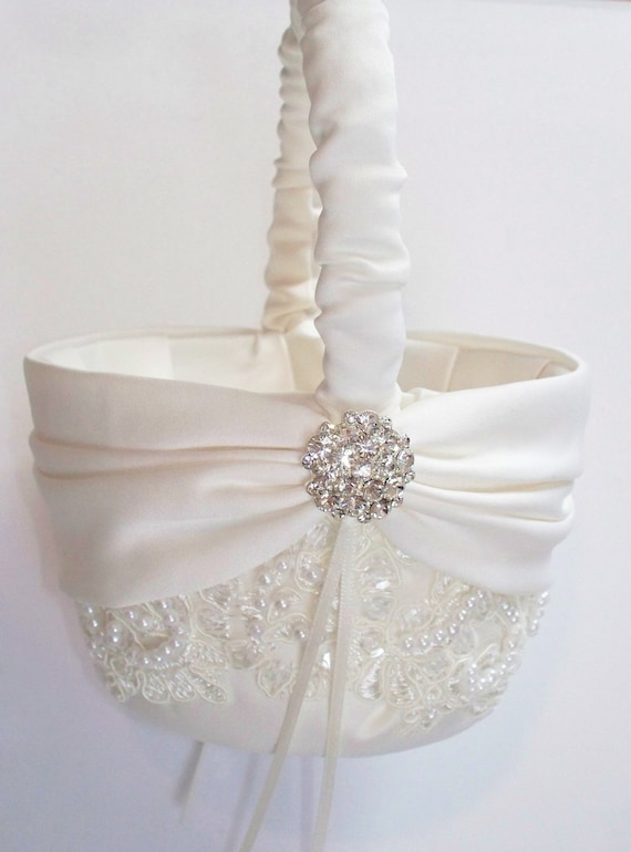 Flower Girl Basket Gray : Wedding flower girl basket with beaded alencon lace ivory