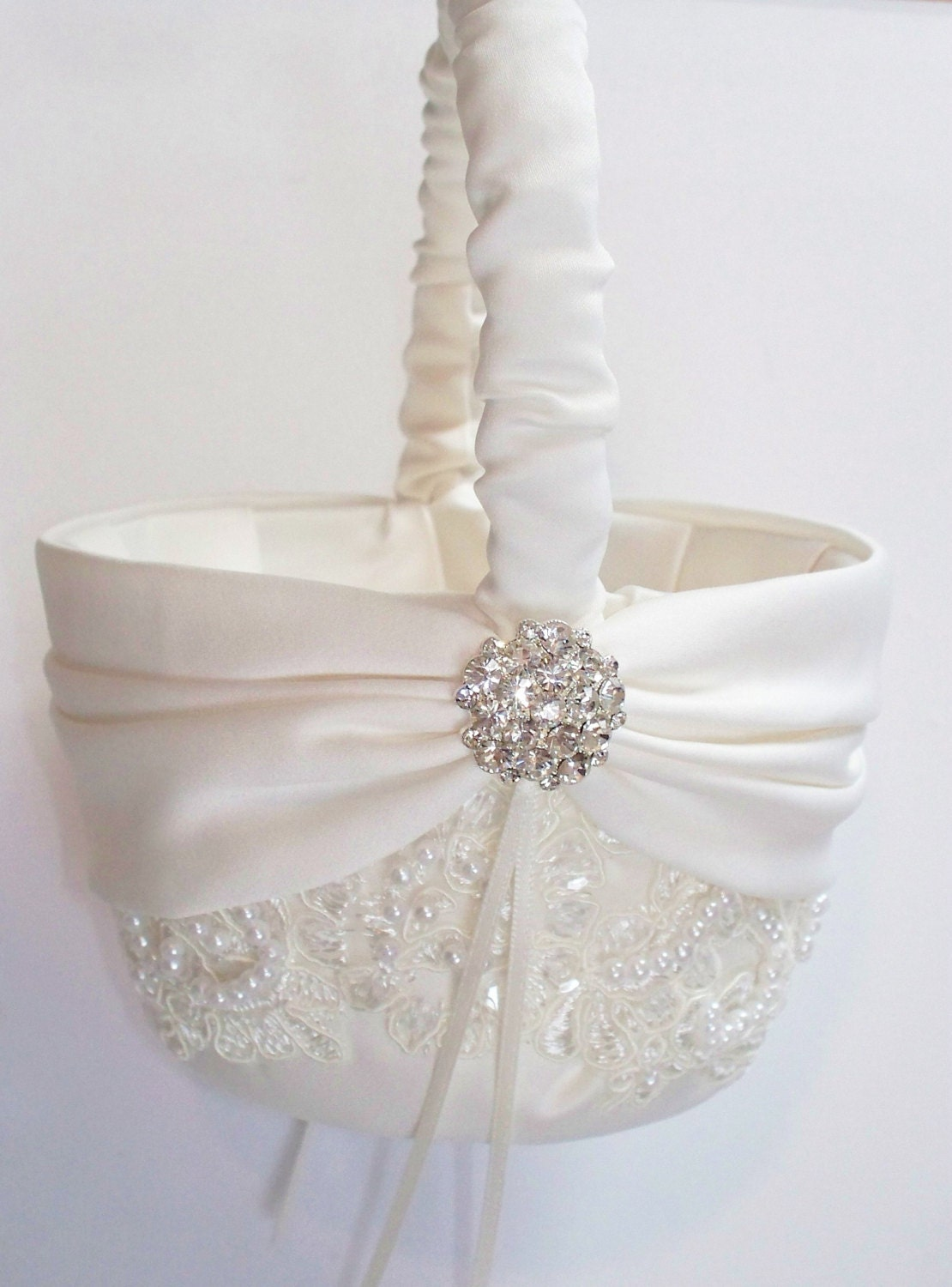 Wedding Flower Girl Basket With Beaded Alencon Lace Ivory