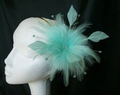 Pretty Pale Aqua Aquamarine Blue Feather Flower and Crystal Fascinator Hair Comb or Band - Custom Made to Order