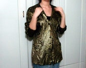 Long Sleeve Vintage Gold Jacket 80s Metallic Glam Hipster Party