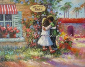 Ice Cream Hugs Art Print, brother and sister wall decor, boy hugging girl art, ice cream shop, ice cream parlor painting, Vickie Wade art