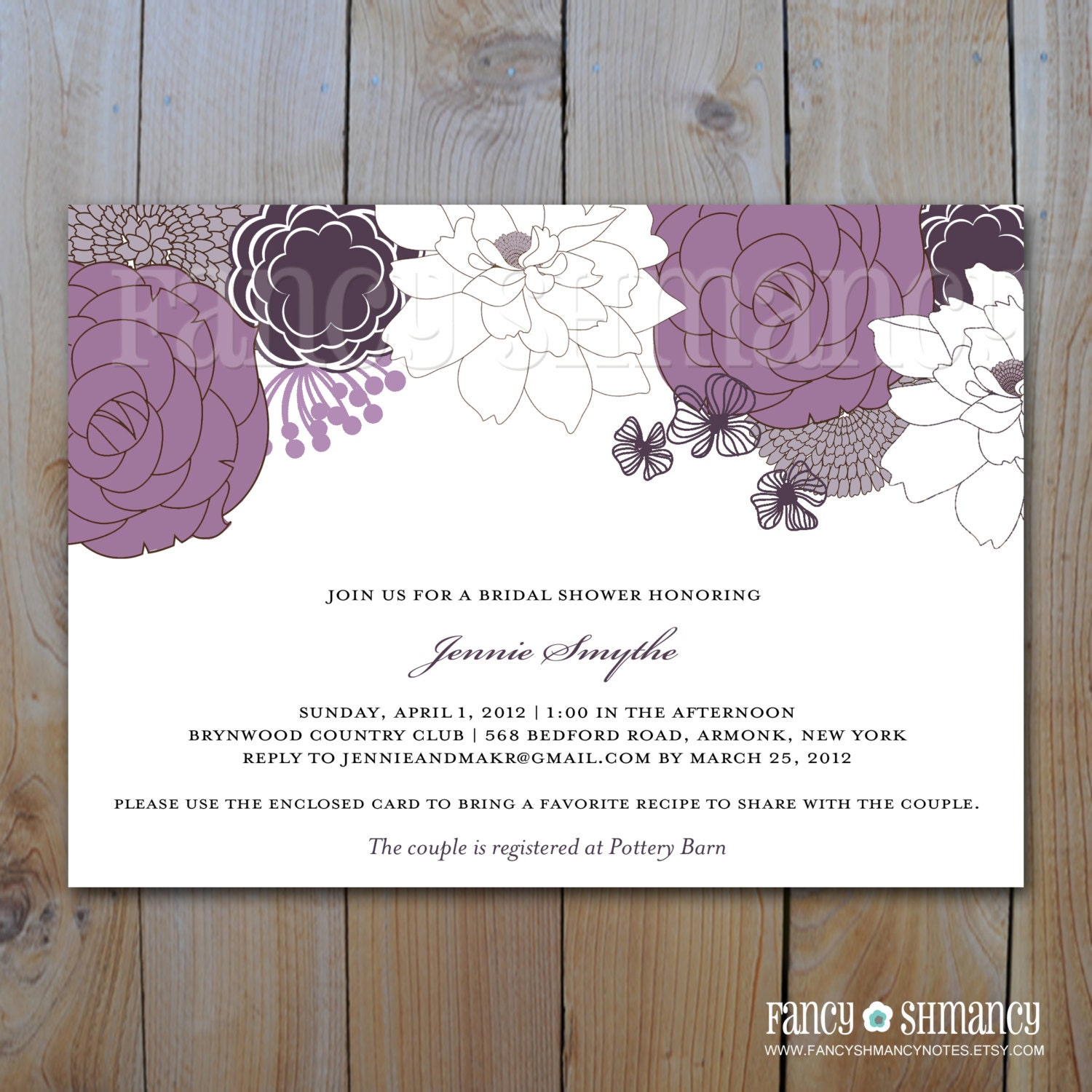 Bridal Shower Invitation / Purple Floral / by FancyShmancyNotes