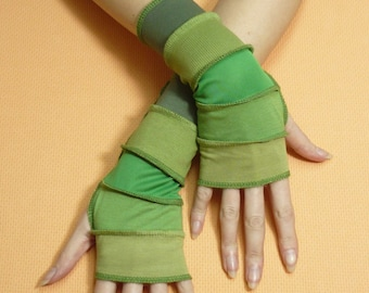 Short Green Fingerless Gloves, Fresh Armwarmers in Upcycled Look, Reconstructed Jersey Sleeves, Boho Hippie