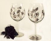 Hand Painted Wine Glasses - Elegant Black and Silver Roses, Set of 4, 18 oz - 25th Wedding Anniversary Steampunk Goblet