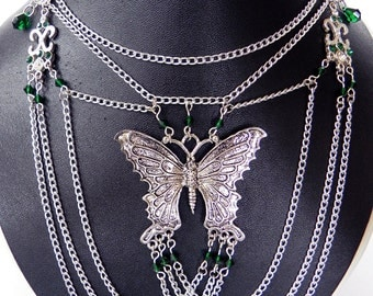 Necklace Neo-Victorian Metals Steampunk Silver Butterfly and Emerald crystals