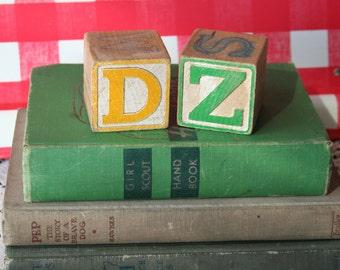 Vintage DZ Delta Zeta Sorority Wooden Blocks Gift Alphabet Greek Antique