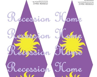 Large sunburst PDF for Rapunzel Tangled lantern decorations or iron on