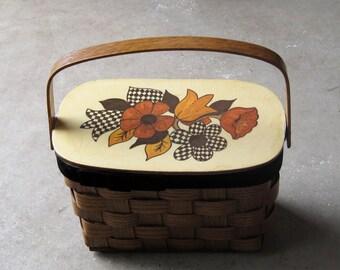 vintage wooden basket purse, wooden sewing basket, floral motif basket, vintage putney basket purse, SALE