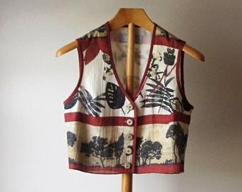 Vintage 80s Dorothy Schoelen Platinum Petites Vest, Smal Bohemian Print Vest / SALE