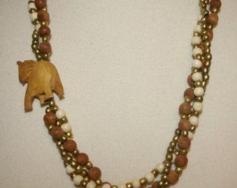 Elephant Beaded Necklace, Tribal, Long length, Multi Strand, Vintage 1960's