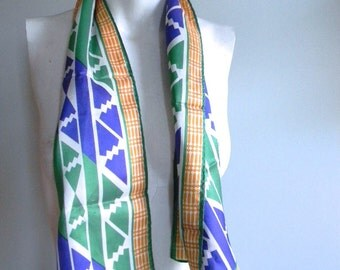 vintage. 60s MOD Print Long Scarf Japan Retro 1960 60s Graphic Neck Tie //