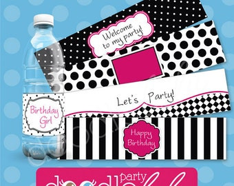 Black White & Pink Party Water Bottle Labels - Diva Party Water Bottle Wrappers - Girl Teen Birthday Party - PRINTABLE, INSTANT DOWNLOAD