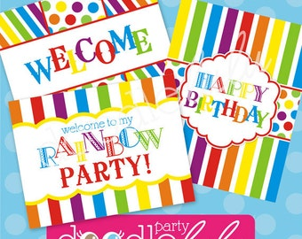 INSTANT DOWNLOAD DIY Printable Rainbow Party Signs - 5 Versions/Designs from Doodlelulu by 2 june bugs