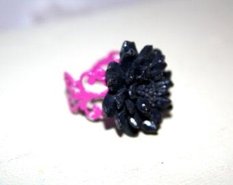 Flower ring, adjustable, filigree